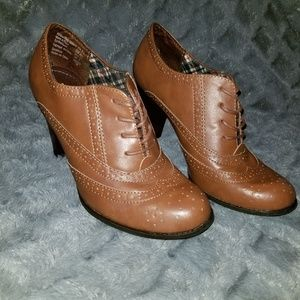 Faux Leather Oxford Booties